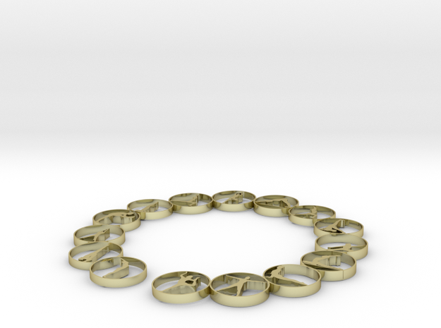 Bangle with 15 yoga poses 57.2 mmm in 18k Gold Plated Brass