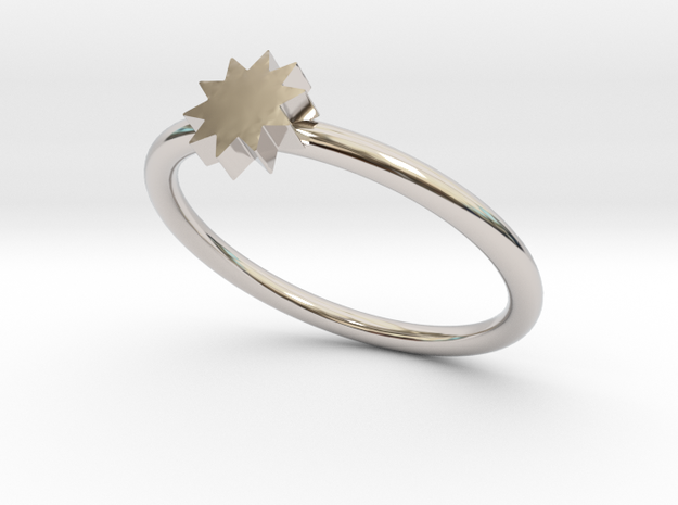 P O W E R  Slim Ring - Star in Rhodium Plated Brass: 5 / 49