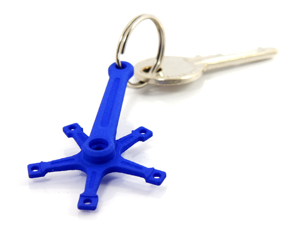 Bicycle Crank Keyring Pendant in Blue Processed Versatile Plastic