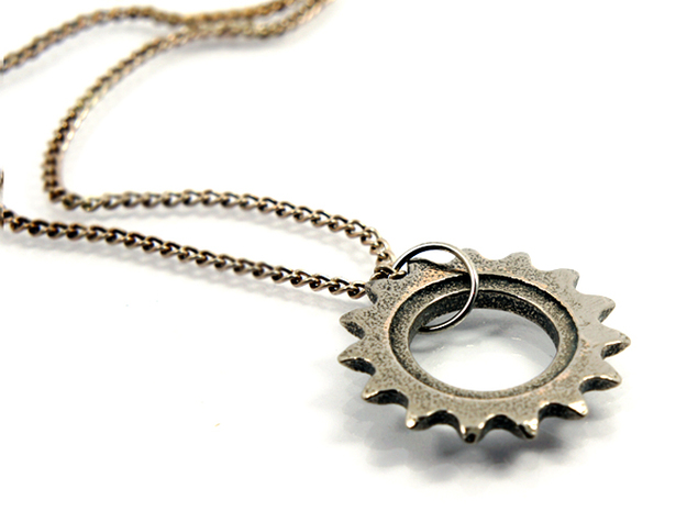 24mm Bicycle Track Sprocket Pendant 15t in Polished Bronzed Silver Steel