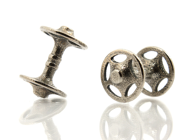 Sheriff Star Bicycle Hub Cufflink in Polished Bronzed Silver Steel