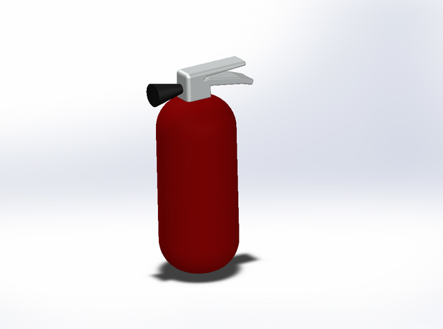 1:10th scale fire extinguisher in Red Processed Versatile Plastic