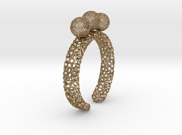voronoi fidget ring. Size 10. Balls spin. in Polished Gold Steel