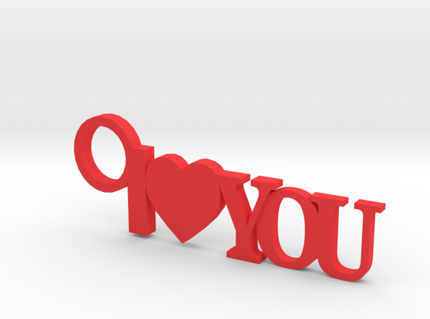 I Love You Keychain in Red Processed Versatile Plastic