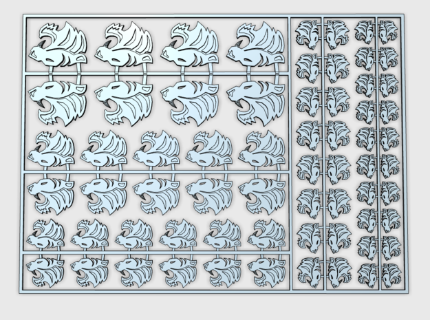 Silver Tigers : Vehicle Insignia pack in Smooth Fine Detail Plastic