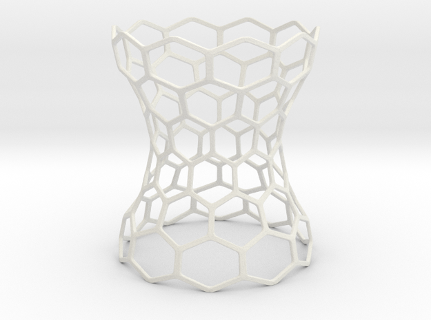 Hex Grid Vase in White Natural Versatile Plastic: Extra Small