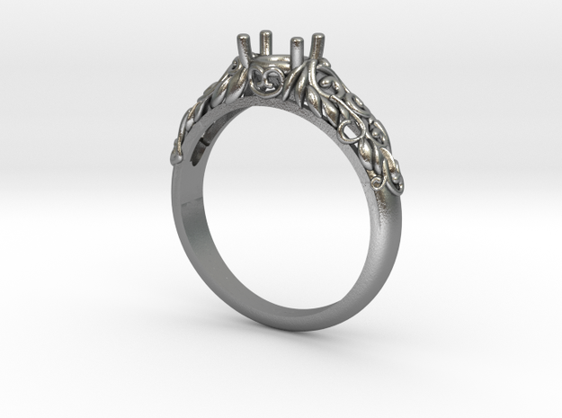 Filigree Engagement Style Solitaire Ring  in Natural Silver