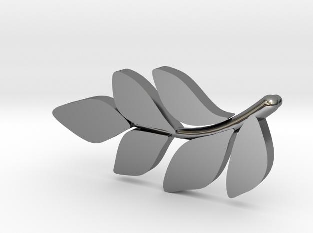 Sideways Leaf pendant  in Fine Detail Polished Silver