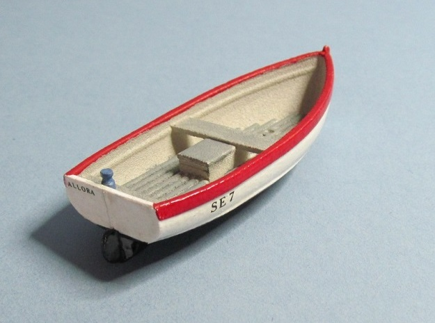 4 mm Scale Open Fishing Boat in White Natural Versatile Plastic