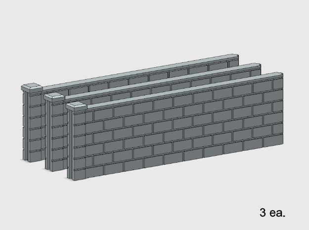 5' Block Wall - 3-Long Jointed Sections in White Natural Versatile Plastic: 1:87 - HO