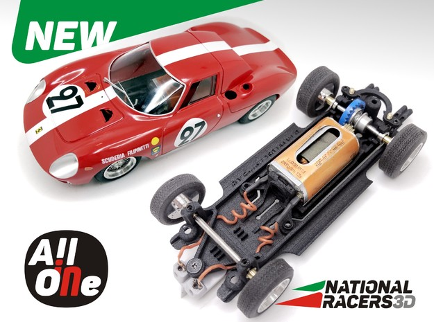 3D Chassis - Fly Ferrari 250 LM (Inline-AiO) in Black Natural Versatile Plastic