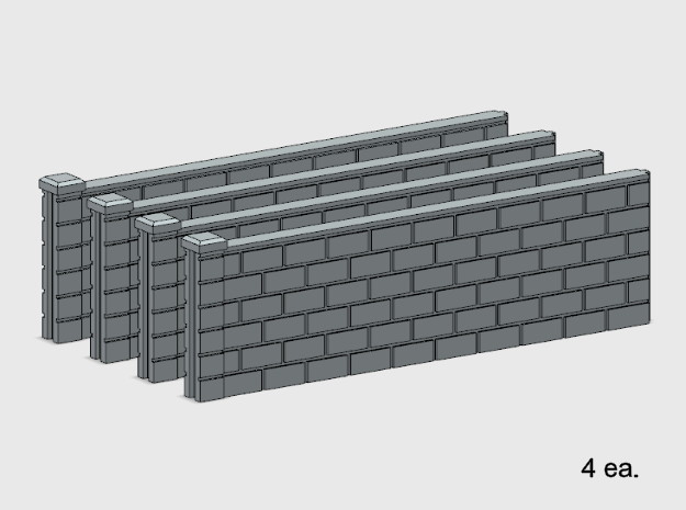 5' Block Wall - 4-Long Jointed Sections in White Natural Versatile Plastic: 1:87 - HO