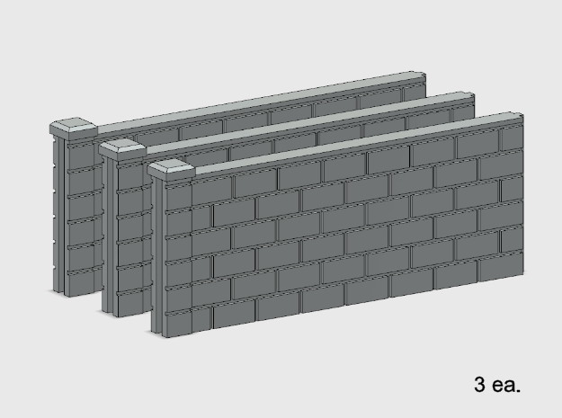 5' Block Wall - 3-Med Jointed Sections in White Natural Versatile Plastic: 1:87 - HO
