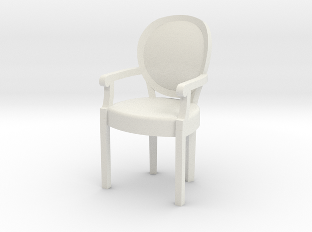 1:48 Louis XVI Armchair in White Natural Versatile Plastic