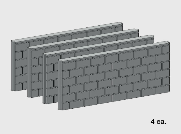 5' Block Wall - 4-Med Jointed Splices in White Natural Versatile Plastic: 1:87 - HO