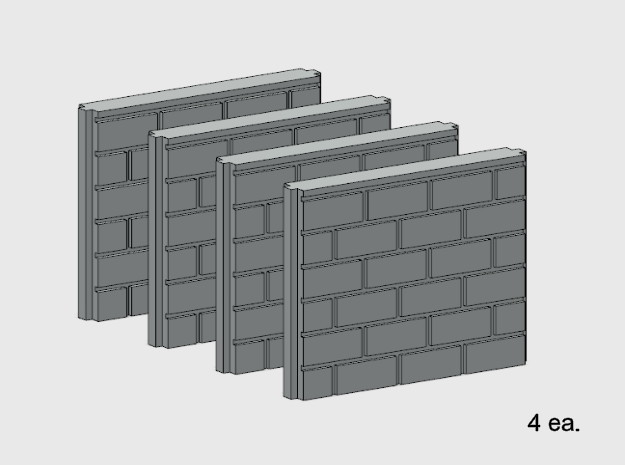 5' Block Wall - 4-Short Jointed Splices in White Natural Versatile Plastic: 1:87 - HO