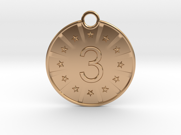 Medaille 3 in Polished Bronze