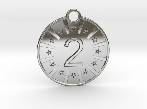 Medaille 2 in Fine Detail Polished Silver