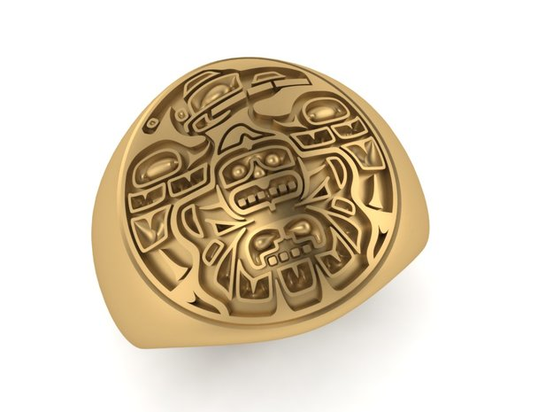 Tiki Man mask ring