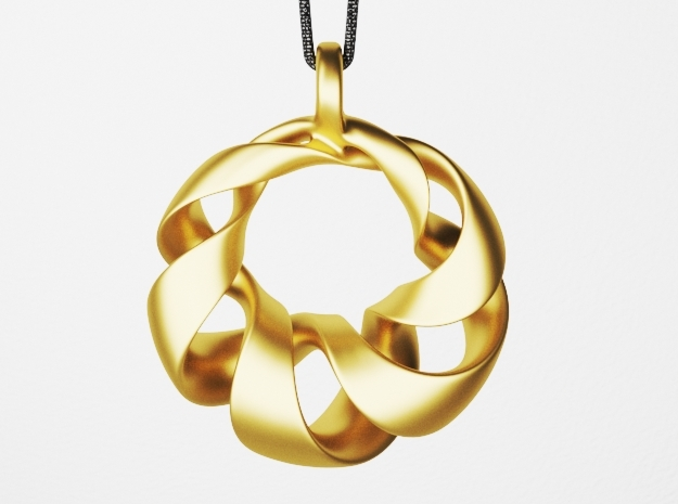 Torus Pendant Type A in Polished Brass: Small