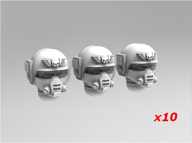 Imperial Soldier Heads Set 3 10x in Smoothest Fine Detail Plastic