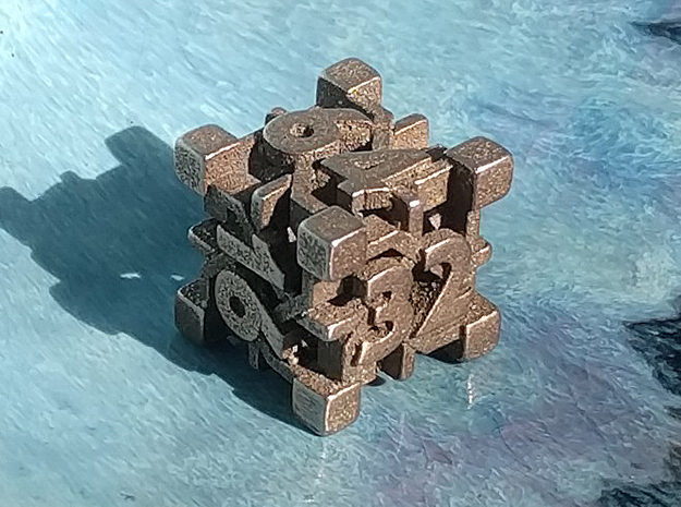 Intangle d6 Backgammon Doubling Cube in Polished Bronzed-Silver Steel