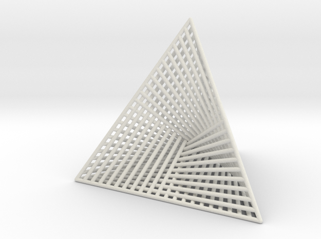 Ribbed Hemicube Tetrahedron V 2.0 in White Natural Versatile Plastic