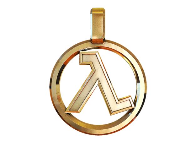 Half-Life - Lambda Pendant in Polished Brass