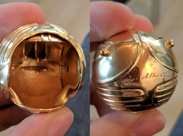 Golden Snitch Ring Box with Wings (Front) in 14k Gold Plated Brass