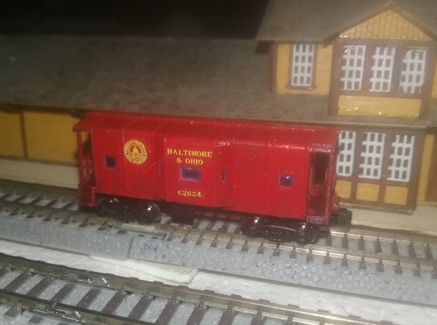 Z Scale  B&O Wagon top caboose in Smoothest Fine Detail Plastic