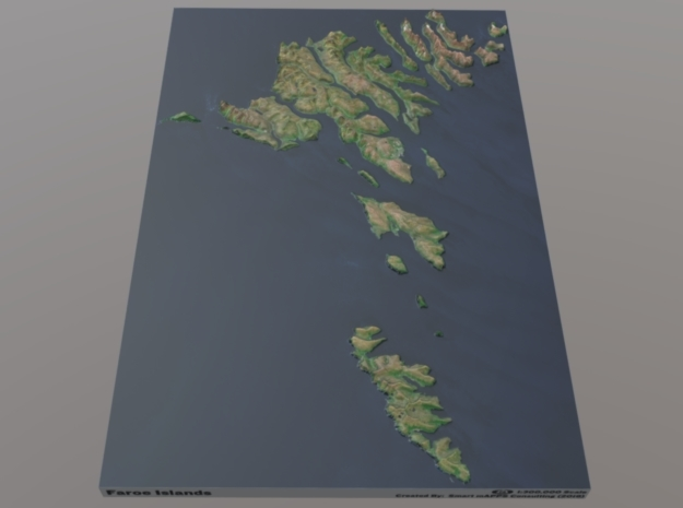 Faroe Islands Relief Map: 1:300,000 Scale in Matte Full Color Sandstone