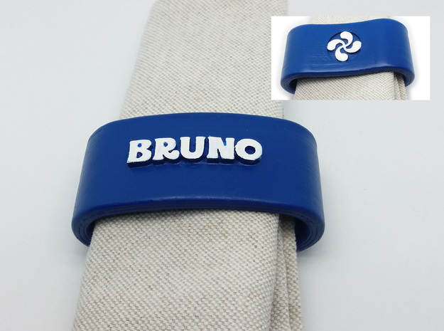BRUNO napkin ring with lauburu in White Natural Versatile Plastic