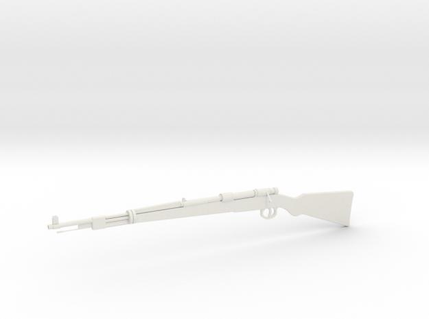 1:12 Mauser 98 Kurz in White Natural Versatile Plastic: 1:12