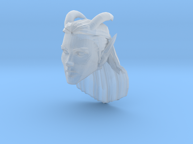 Elf Female Horned Head 2 in Smooth Fine Detail Plastic