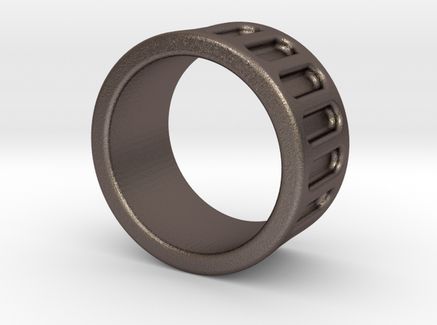 Groove Ring Band 10mm in Polished Bronzed-Silver Steel: 6 / 51.5