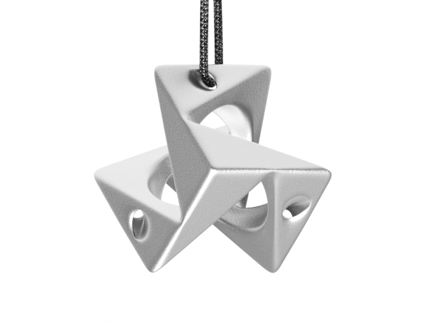 Cube Pendant Type A in Polished Nickel Steel: Small