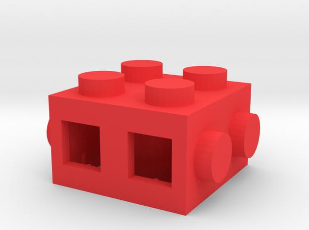 Custom LEGO-inspired brick 2x2 in Red Processed Versatile Plastic