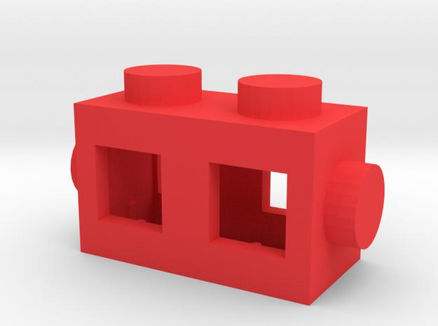 Custom brick 2x1 for LEGO in Red Processed Versatile Plastic
