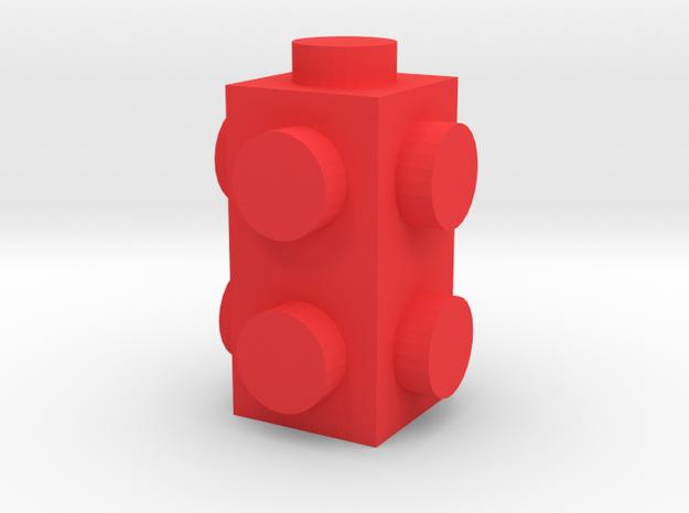 Custom LEGO-inspired brick 1x1x2 in Red Processed Versatile Plastic