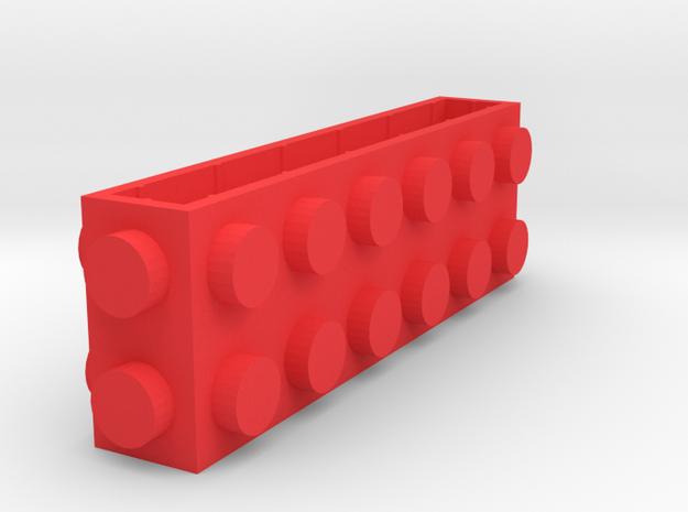 Custom LEGO-inspired brick 6x1x2 in Red Processed Versatile Plastic