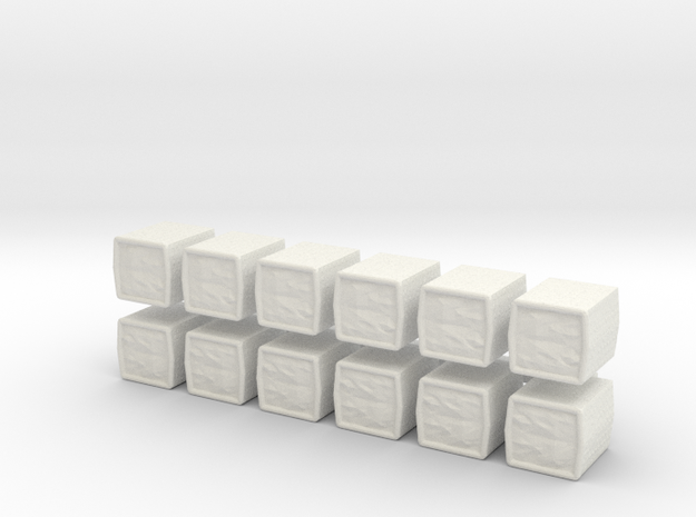 1:144 scale HESCO Barrier set of 12 in White Natural Versatile Plastic