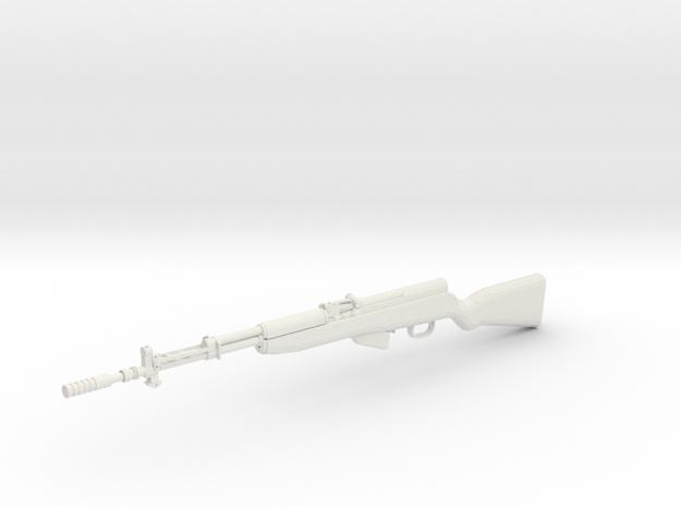 1:12 Miniature SKS M59/66A1 Soviet semi-automatic  in White Natural Versatile Plastic: 1:12
