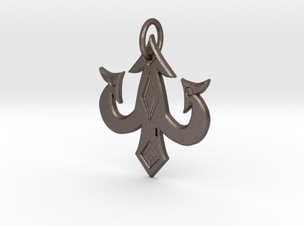 luck charm keychain in Polished Bronzed-Silver Steel: Medium