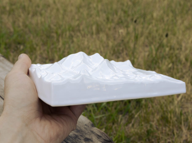 6''/15cm Mt. Everest, China/Tibet, Ceramic 3d printed Photo of actual print seen from the West