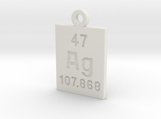 Ag Periodic Pendant in White Natural Versatile Plastic
