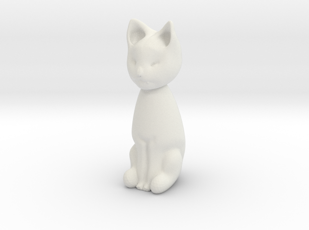 Cat statuette, 1:12 scale, 3cm tall in White Natural Versatile Plastic