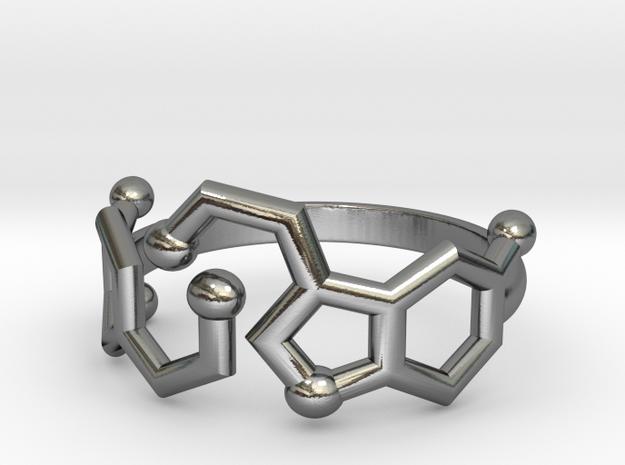 Dopamine + Serotonin Molecule Ring in Polished Silver: 3.5 / 45.25