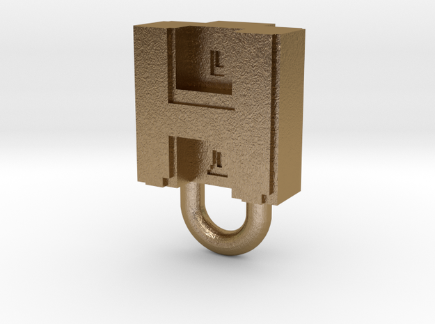 Puma Punku H-block Pendant 1,5cm in Polished Gold Steel