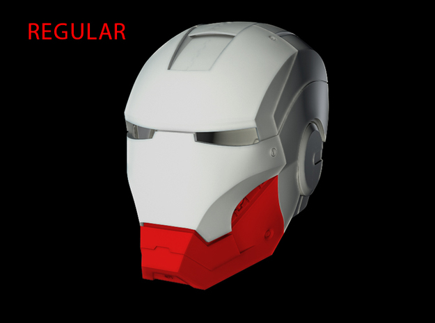 Iron Man Helmet Jaw (Regular) Part 3 of 3 in White Strong & Flexible
