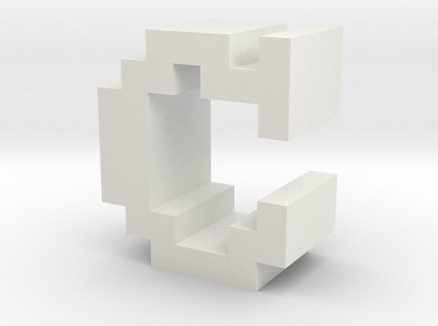 """C"" inch size NES style pixel art font block in White Natural Versatile Plastic"